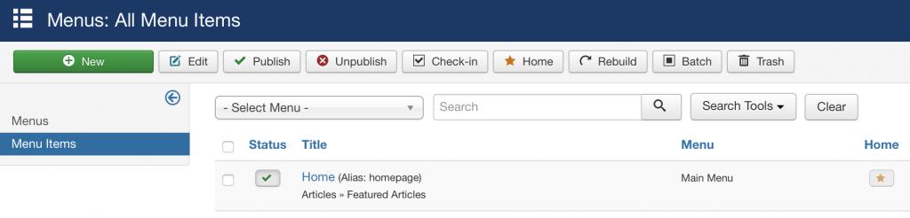 Creating Joomla page step 1