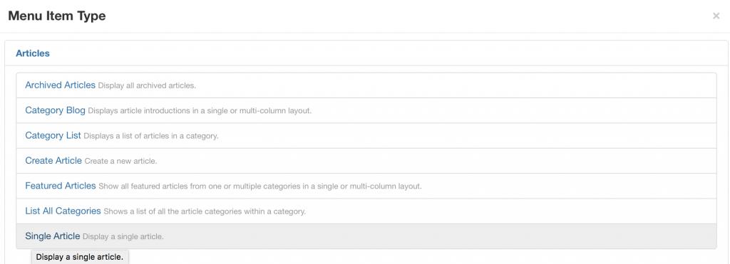 Creating Joomla page step 3